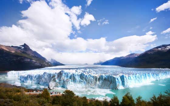 glacier, аргентина, горы, iceberg, взгляд, под, смотровая, лес, водой, площадь, арка,