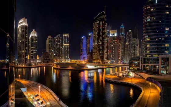 dubai, город, ночь