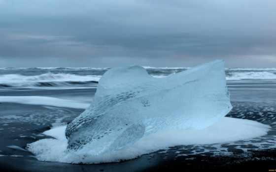 природа, холод, лед, waves, пенка, берег,