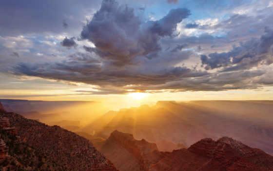 каньон, grand, закат, national, park, windows, rim, восход, south,
