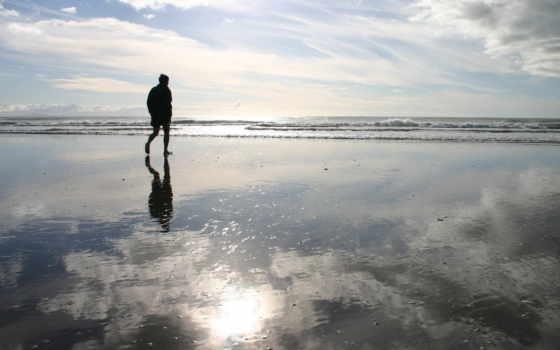 моря, берегу, одинокий, море, банка, странник, эмоции, берег,