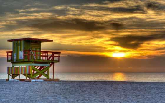 miami, сша, пляж, пейзажи -, ocean, небо, south, вечер, florida,