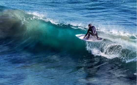 спорт, сёрфинг, пляж, город, surf, взгляд, всадник, club, sporty, побережье