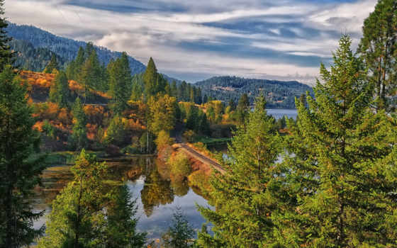 ,озеро, дорога, лес, горы, природа, небо,