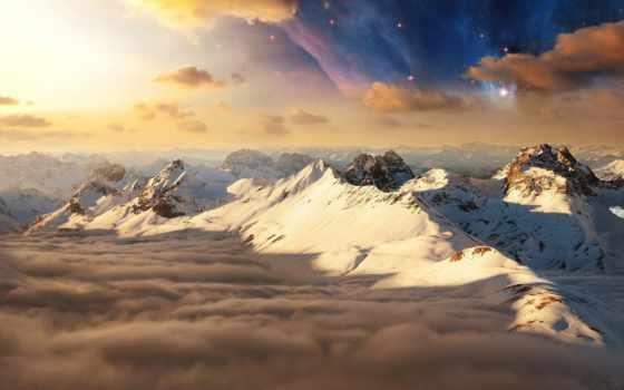 valhalla, горы, небо, рассвет, дек, снег, лодки, oblaka, природа,