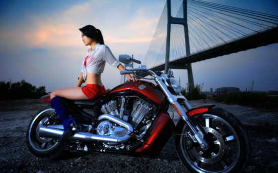девушка, мотоцикл, мотоциклы