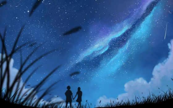 pair, звезды, art, влюбленная, силуэты, девушка, небо, смотрят, парень, ночь,