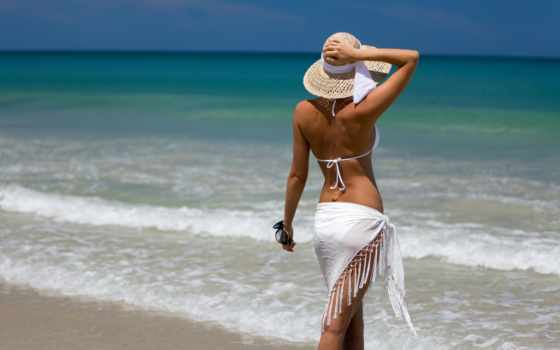 девушка, шляпе, devushki, моря, шляпа, пляж, красивое, красном, купальнике, пляже, отдых,