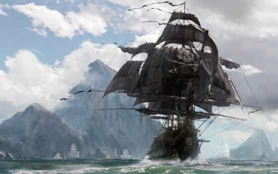 пиратский, art, коллекция, кость, череп, корабль, card, море, fantasy, пираты, фотообои
