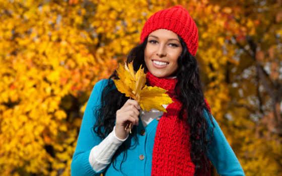 осень, золотая, ярких, красочных, обоях, девушка, твоего, компьютера,