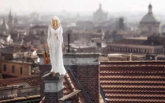девушка, крыше, скрипкой, дома, devushki, скрипка, скрипачка, стоковые, pavla, женщина,
