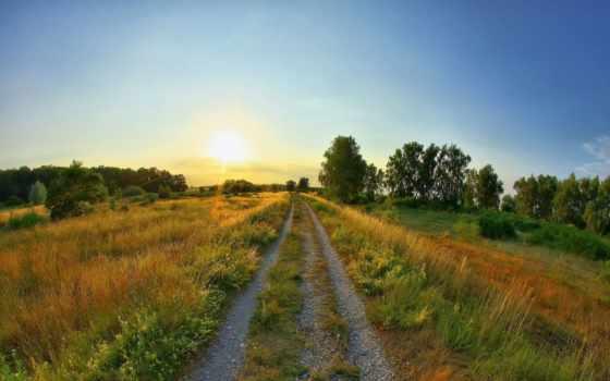 summer, sun, дорога, rising, поляна, небо, горы, природа,