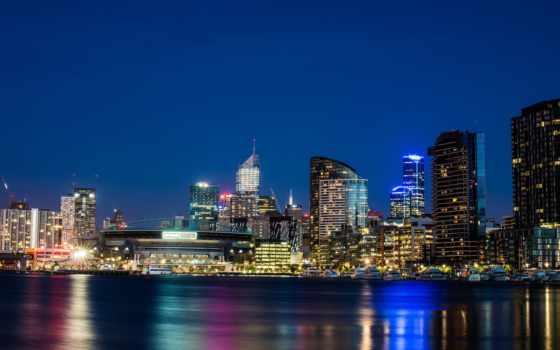 victoria, австралия, melbourne, город, ночь, skyscrapers, стадион, ярра, река,