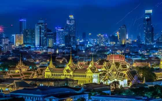 bangkok, thai, таиланд, панорама, город, тайланде, дома, москва, между, ночь,