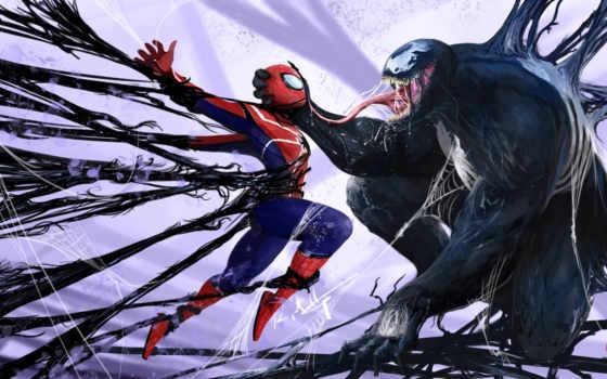 venom, marvel, паук, мужчина, spiderman, artwork,