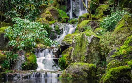 весна, japanese, природа, narrow, хороший, garden, водопад, google, фото, гора