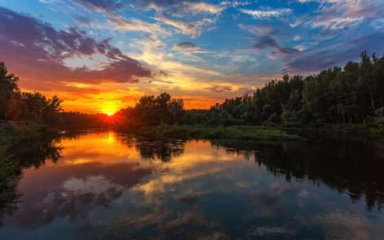 отражение, небо, zakat, дерево, hideveloper, ir, reka, река, pavel, закат, солнце