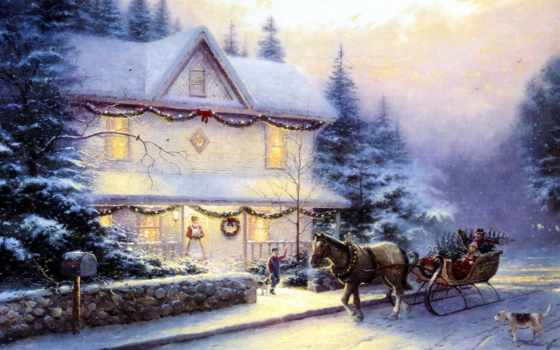 christmas, живопись