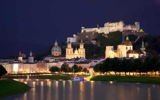 austria, salzburg, town, chapels, houses, сity, river, salzach, castle,