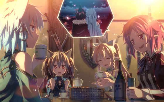 online, art, sword, kirito, sao, asuna, suguha, silika, alfheim, shinon, alo, lizbeth, аниме,