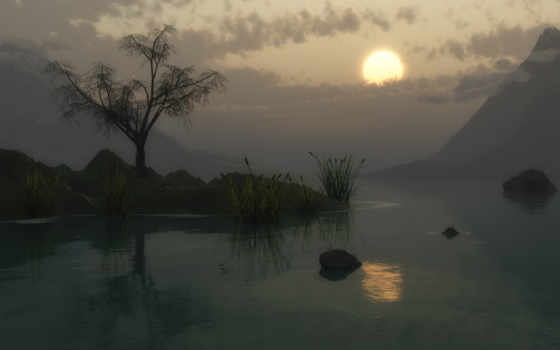 солнце, озеро, сумерки, закат, горы, дерево, камыши, озером, над, облаках, sunsets,