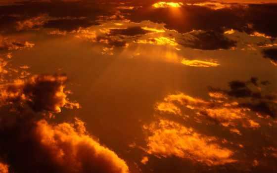 большие, солнца, облака