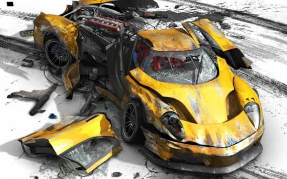 авария, burnout, авто, катастрофа, разбита, yellow,