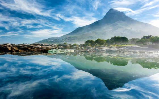 ocean, гора, отражение