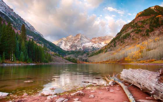горы, озеро, бардовый, trees, landscape,