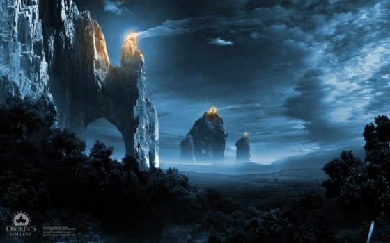 огни, ночь, империя, скалы, лес, небо, turret, горы,