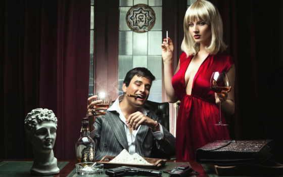 девушка, пистолет, парень, glass, сигарета, спирное, платье, white, сигара, powder,