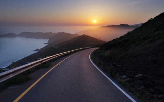 дорога, закат, рассвет, горы, утро, туман, побережье, ocean, природа, highway,