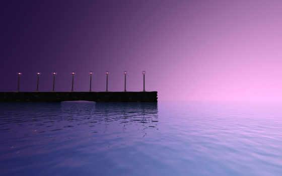 море, pier, фонари, закат, прогулка, вечер,