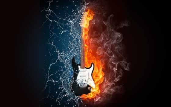 гитара, музыка, молнии, free, без, стоковые, самый, water,