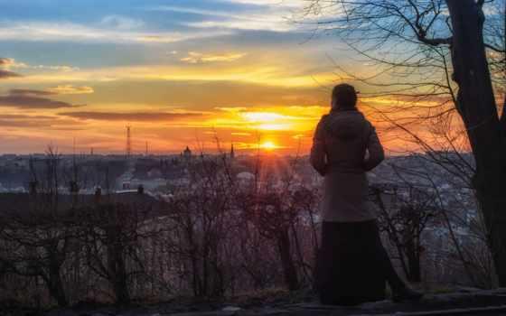 закат, sun, девушка, мари, город, landscape, nous, взгляд, lion