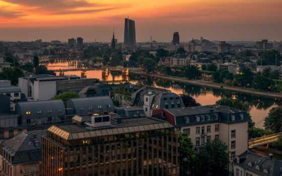 frankfurt, площадь, urban, германия, germanii, maina, mac, город, утро, alemania