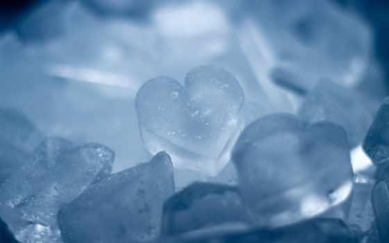 сердце, лед, голубой, обои, макро, heart, ice, sno