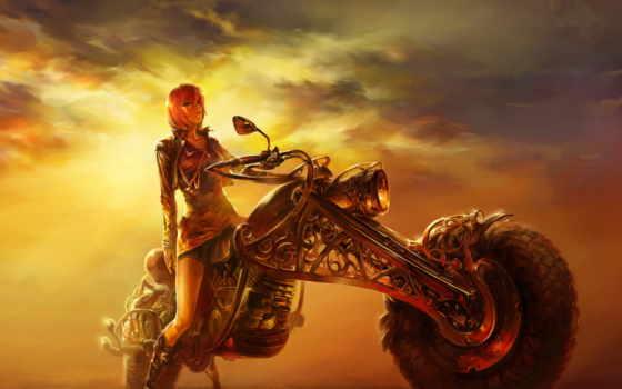 закат, мотоцикл, дорога