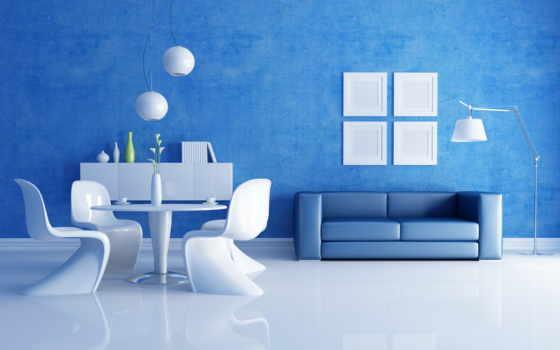 комната, белая, мебель