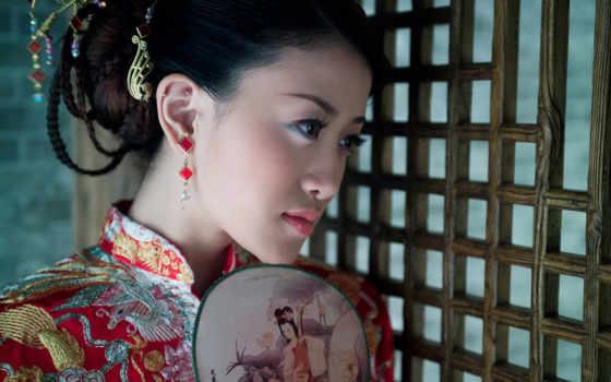 fan, девушка, кимоно, китаянка, пирсинг, рисунок,