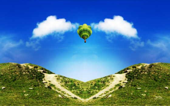 мяч, aerial, горы