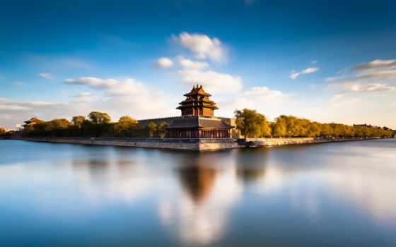 город, китаянка, forbidden, beijing, moat, река, небо,