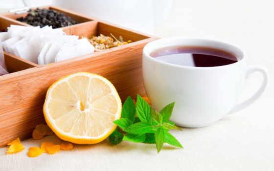 cup, чая, cookie, чая, lemon, сварка, steam, black, листики,