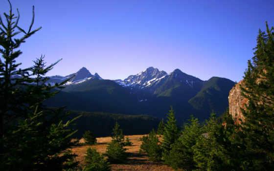 горы, елки, лес, water, castle, картинка, природа,