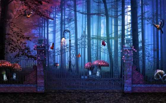 лес, сказочный, фантастика, gate, сказ, грибы, забор, trees, категория, winter, природа,