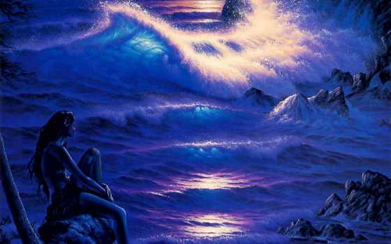 анимации, море, со, ночное, ночь, морем, анимация, ночи, берег, огни,