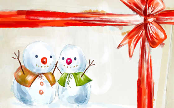 снеговики, подарок