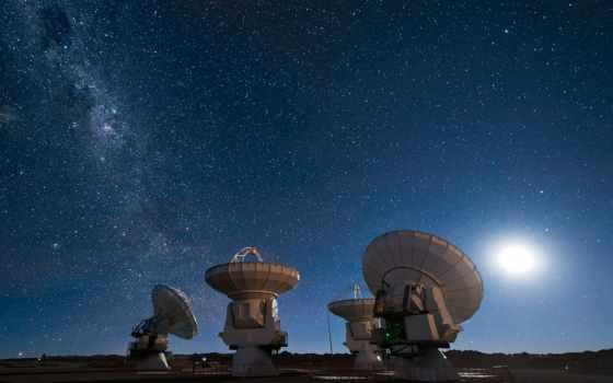 telescope, stars, радио, путь, млечный, космос, небо, луна,