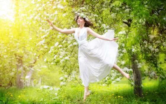 primavera, ди, retrato, una, mulher, uma, stock, alta, con,