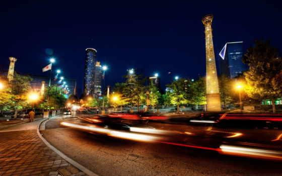 города, огни, ночного, дома, машины, дорога, ночные,